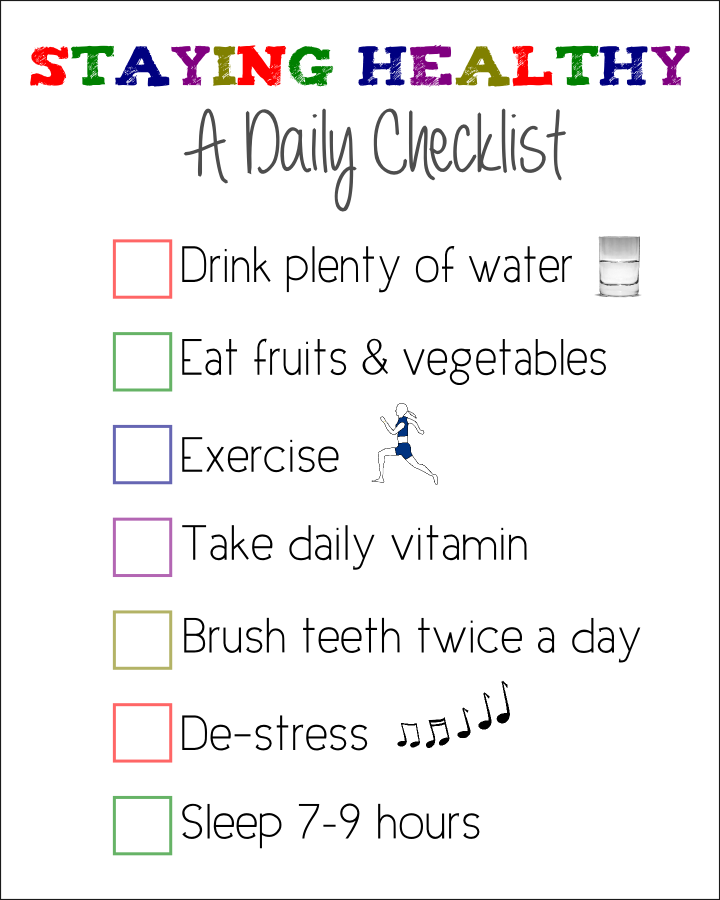 """Staying Healthy"" Checklist"