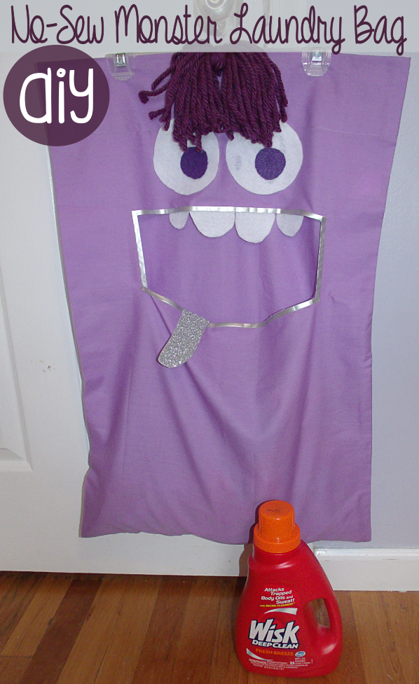 DIY No-Sew Monster Laundry Bag