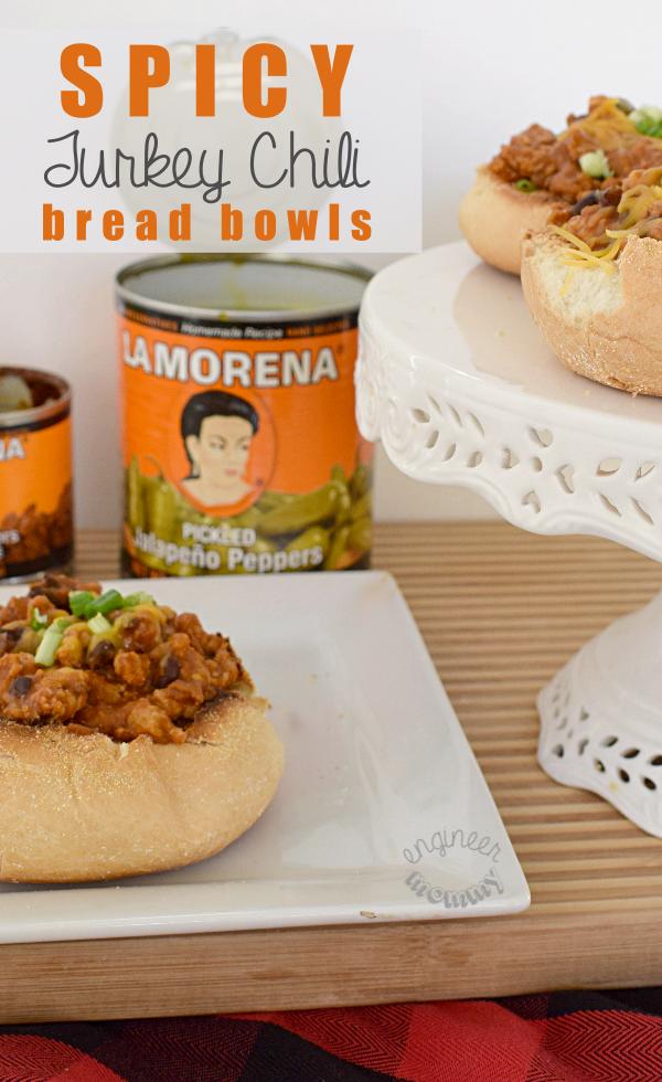 Spicy Turkey Chili Bread Bowls