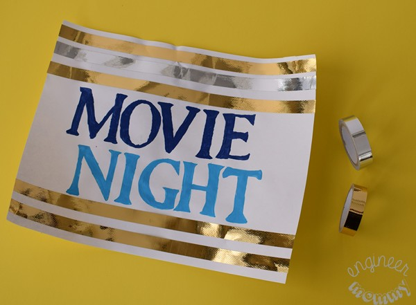 "DIY ""Movie Night"" Marquee Sign with Lights"