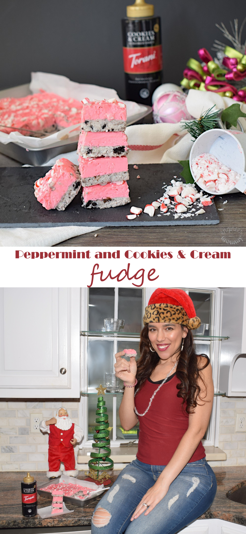 Two-Layer Peppermint and Cookies & Cream Fudge