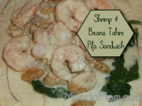 {RECIPE} shrimp & beans tahini pita sandwich