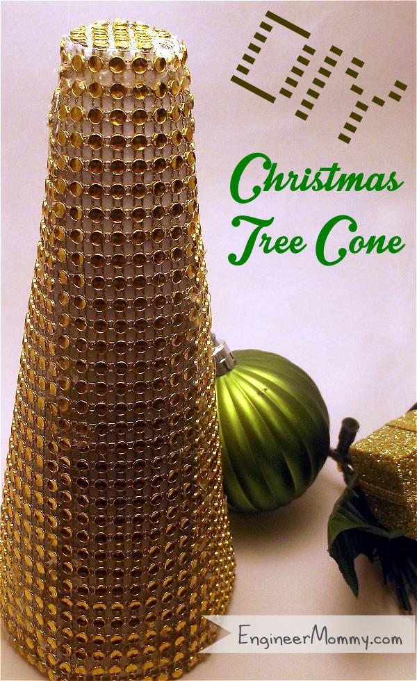 DIY Rhinestone Christmas Tree Cone