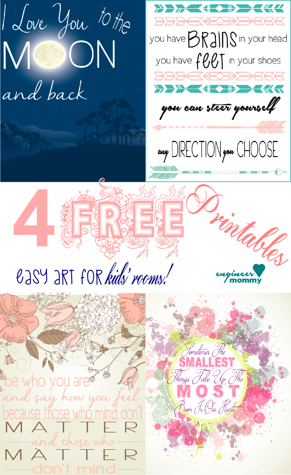 4 Free Printables! {easy art for kids' rooms}