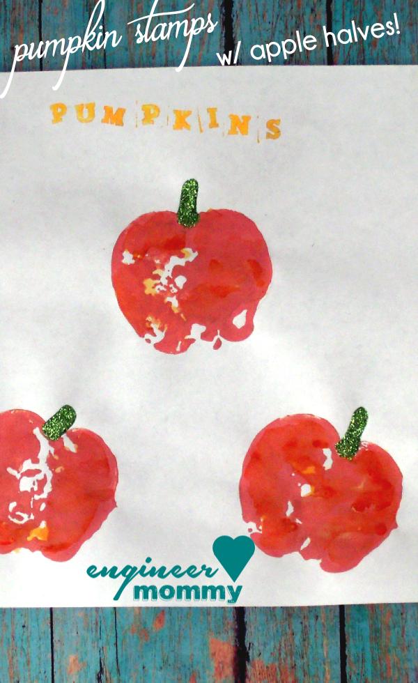 Pumpkin Stamps w/ Apple Halves